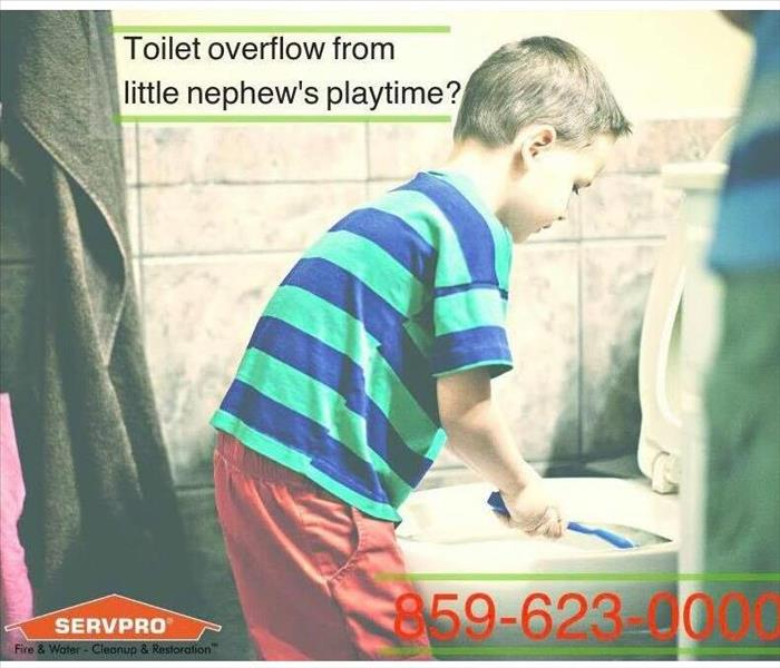 little boy overflows toilet