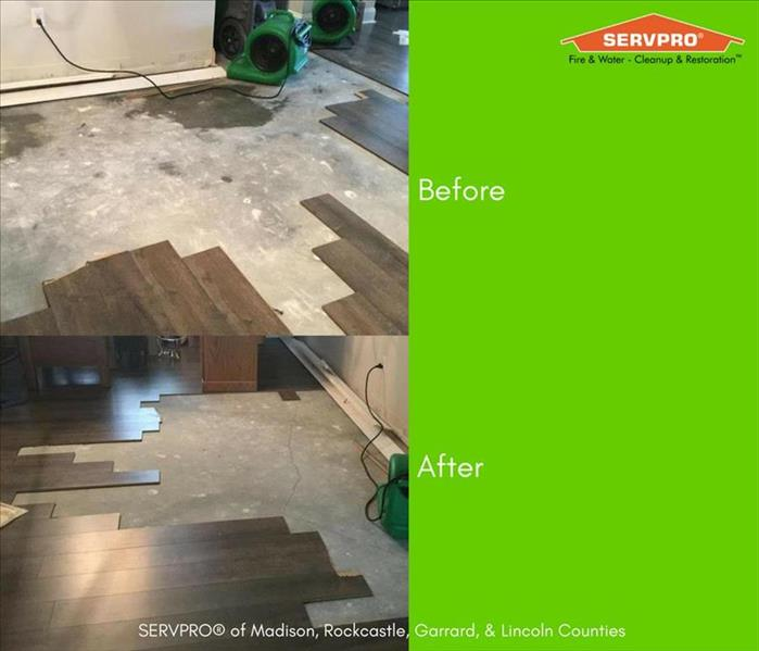 before and after photos of water damage with hardwood flooring