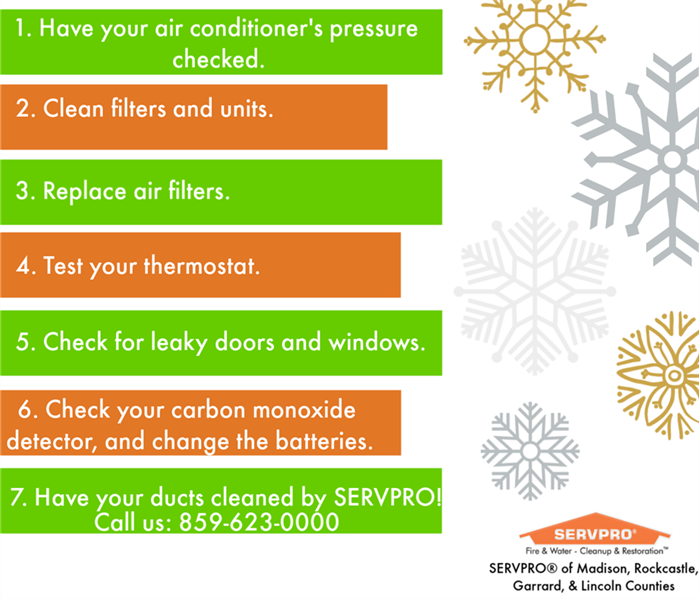 infographic with snowflakes and tips in green and orange